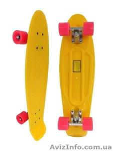 Скейт Longboard Penny 28 желтый с розовыми колесами - Изображение #1, Объявление #1416068