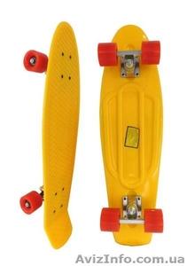 Скейт Longboard Penny 28 красный с зелеными колесами - Изображение #1, Объявление #1416065
